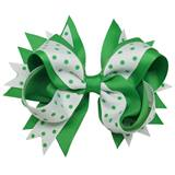 Spirit Hair Bow Clip - Green/White