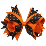 Spirit Hair Bow Clip - Orange/Black