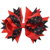 Spirit Hair Bow Clip - Red/Black