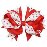 Spirit Hair Bow Clip - Red/White