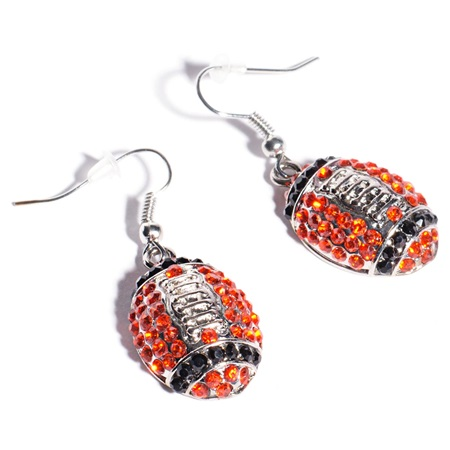 Football Earrings - Orange and Black