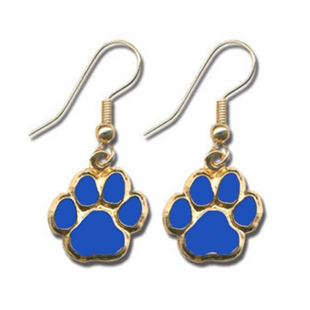 Blue Paw Dangle Earrings