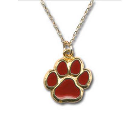 Maroon Paw Prints Necklace
