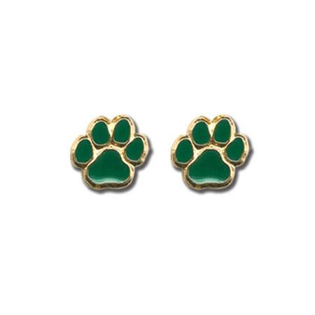 Green Paw Post Earrings