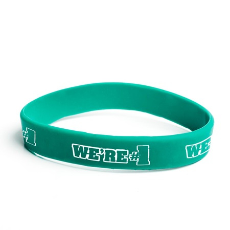 We're #1 Silicone Wristband - Green