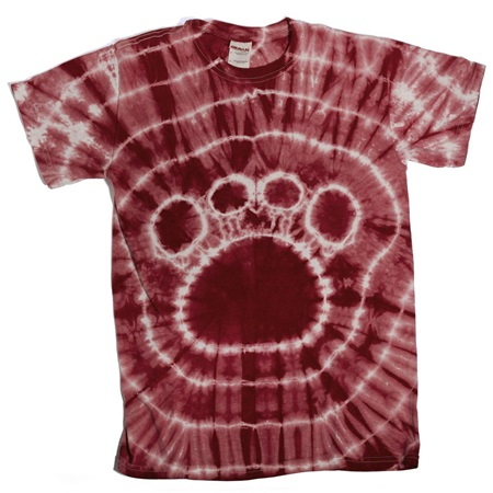 Maroon Tie Dyed Paw T-Shirt