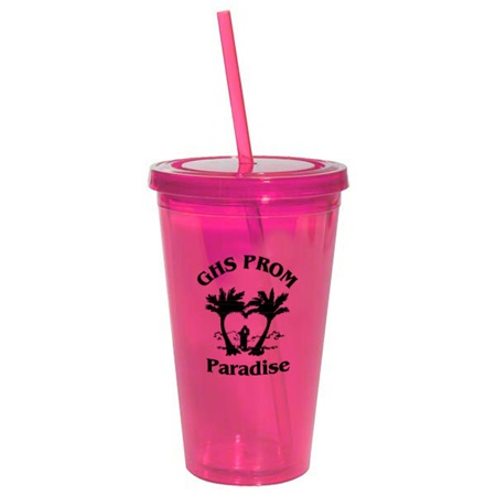 Pink 16 oz. Tumbler with Lid