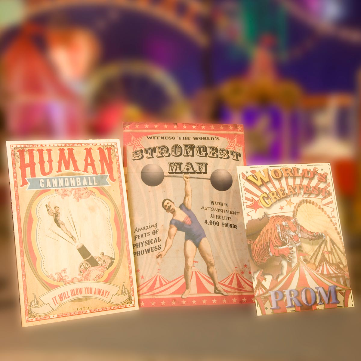 Worlds Greatest Vintage Carnival Posters Kit Set Of 3