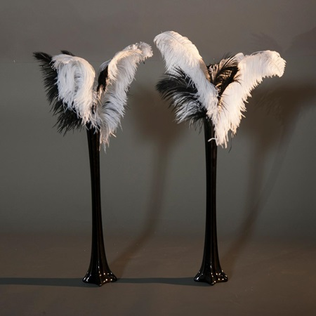 Black Fancy Feathers Vase Kit