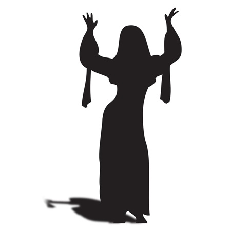 Dancing Lady w/ Raised Arms Silhouette