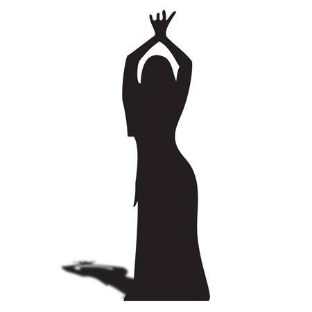 Dancing Lady w/ Hands Up Silhouette