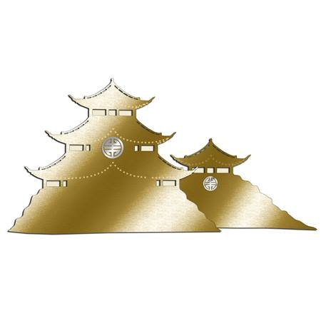 Gold Asian Pagodas Silhouette Kit