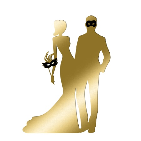 Gold Masquerade Couple Silhouette Kit