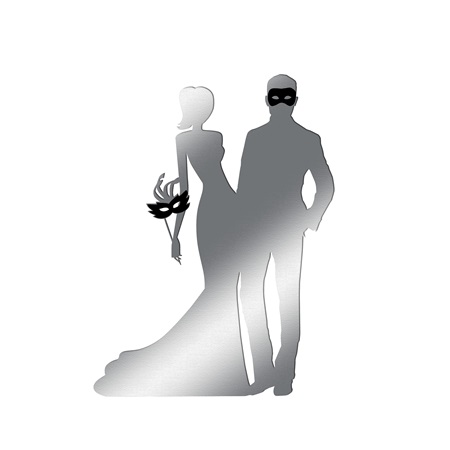 Silver Masquerade Couple Silhouette Kit
