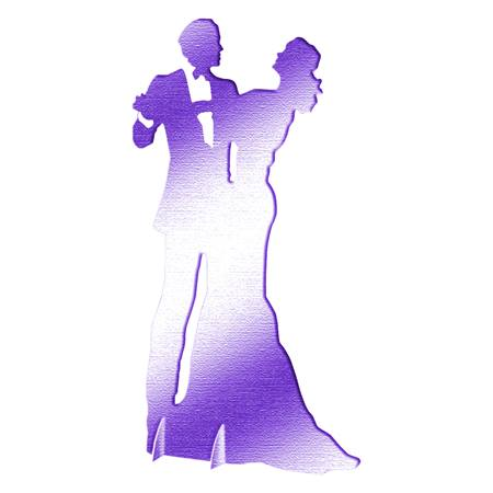 Purple Dancing Couple Silhouette