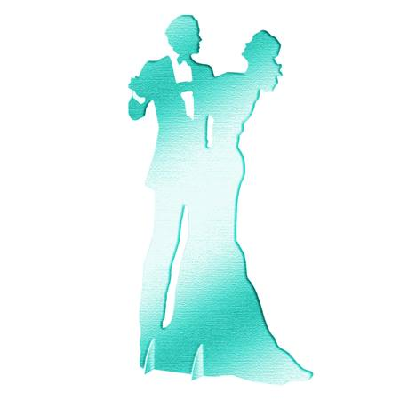 Teal Dancing Couple Silhouette
