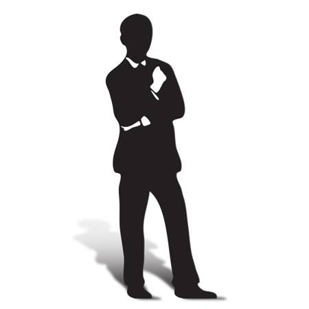 Suave Man Cut Out Silhouette