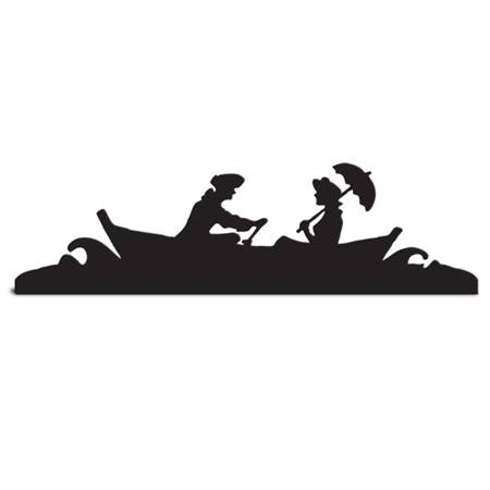 Rowboat Couple Cut Out Silhouette