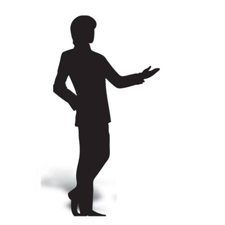Gesturing Man Cut Out Silhouette