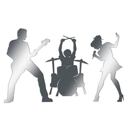 Silver Rock & Roll Band Silhouette Kit