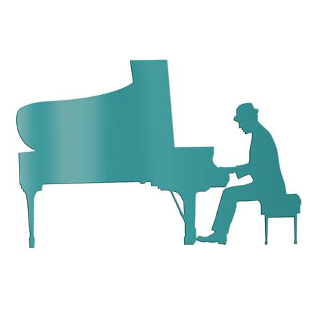 Teal Piano Man Silhouette Kit