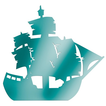 Teal Large Ship Silhouette Kit