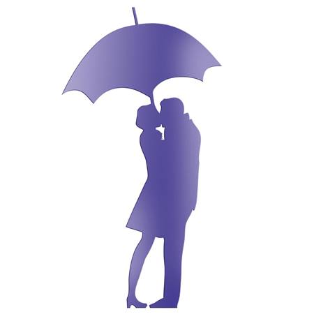 Purple Umbrella Couple Silhouette
