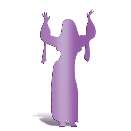 Purple Dancing Lady with Raised Arms Silhouette