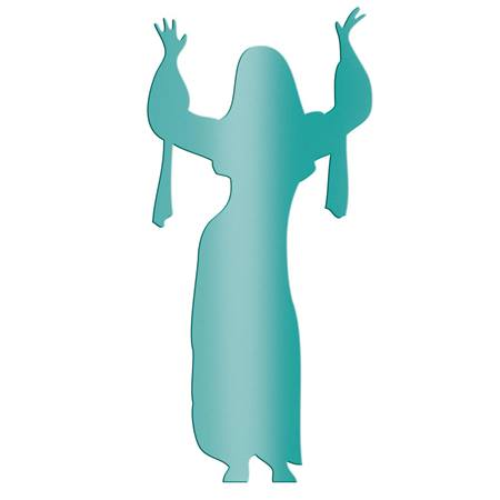 Teal Dancing Lady with Raised Arms Silhouette