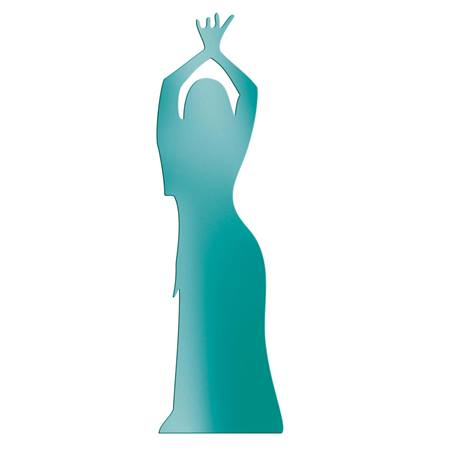 Teal Dancing Lady with Hands Up Silhouette Kit
