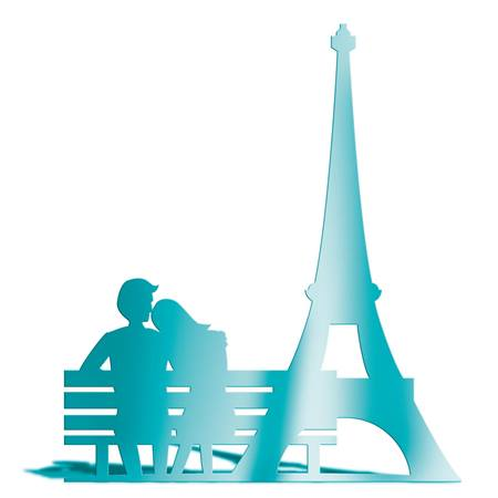 Teal Eiffel Tower and Bench Silhouette