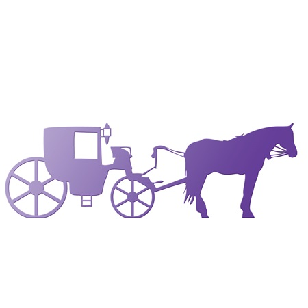 Purple Horse and Carriage Silhouette Kit