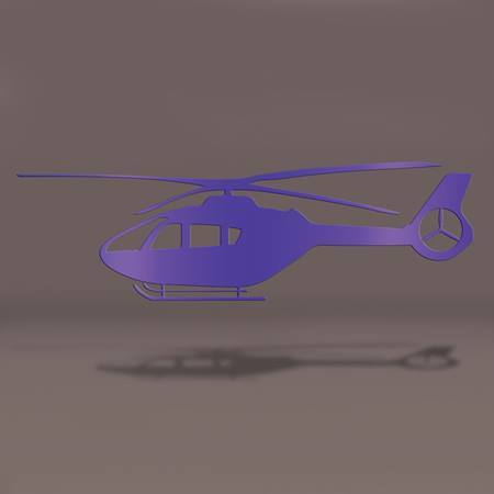 Purple Helicopter Die-cut Silhouette