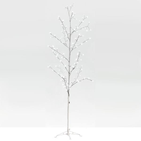 Lit White Wire LED Tree