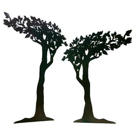Enigmatic Ebony Black Trees (set of 3)