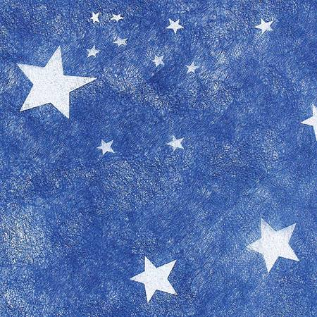 "5-Point White Stars on Dark Blue Gossamer, 19"" x 25 yds"
