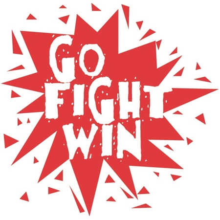 Go Fight Win Red and White Cheek Cheer