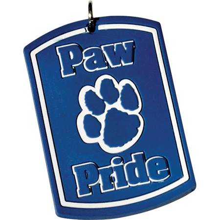Silicone Dog Tag - Blue/White Paw