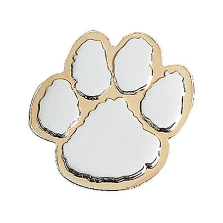 Paw Award Pin – Embossed Silver on Gold
