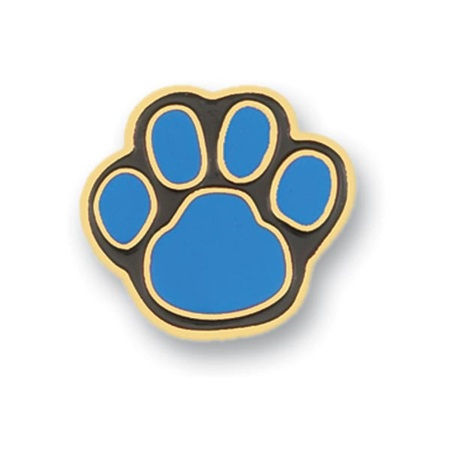 Paw Award Pin – Cyan/Black with Gold Trim