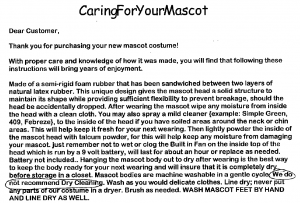 Andersons Middle School Mascot Costume Instructions