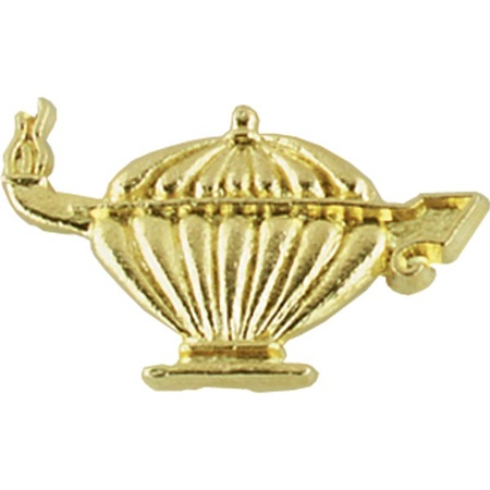 Academic Award Pin - Gold-tone Lamp of Learning