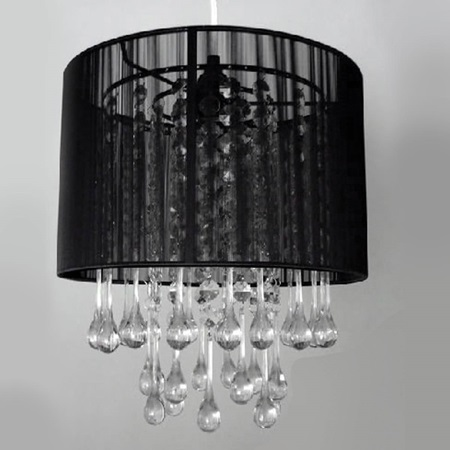 Black Shade and Teardrop Chandelier