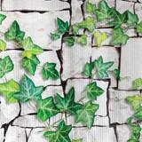 White Brick with Ivy Accent Corrugated Patterned Paper