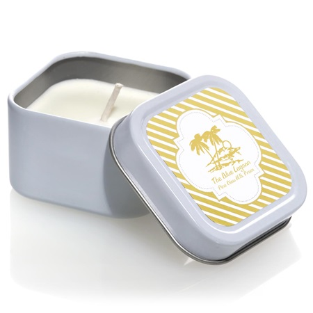 Square Candle Tin With Metallic Foil Label - Gold Stripes