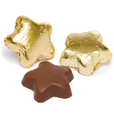 Foil-wrapped Milk Chocolate Stars - Gold