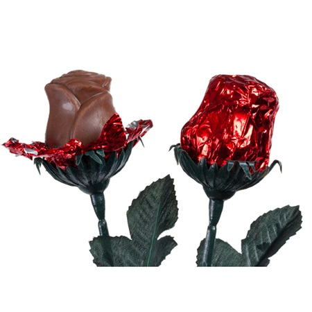 Foil-wrapped Milk Chocolate Roses - Red