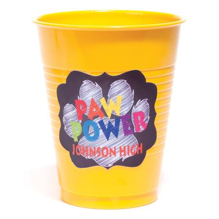 Plastic Cup with Full-color Scalloped Sticker