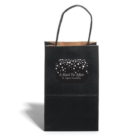 Small Black Kraft Bag with Rectangle Sticker