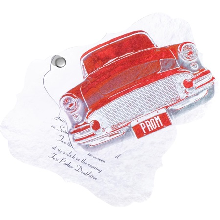 Red Retro Car Twisting Invitation